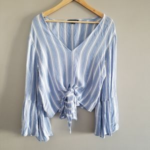 American Eagle striped tie front bell sleeve blous